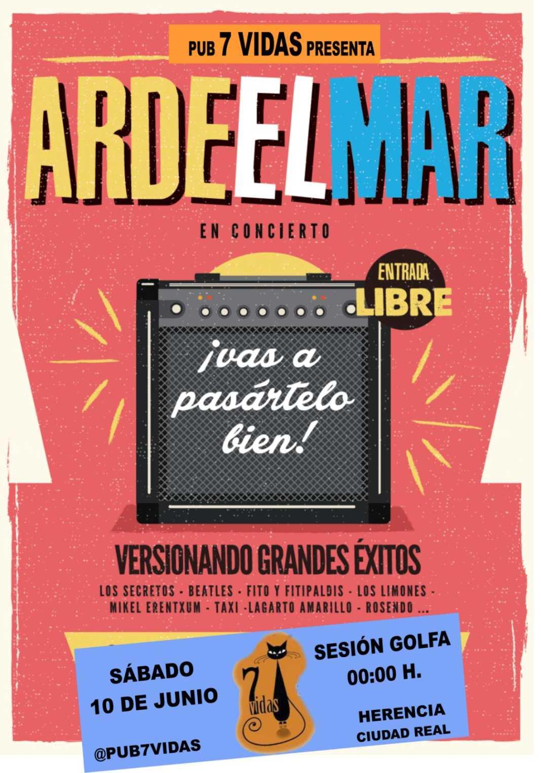 """Concierto Ardeelmar 1068x1526 - Este sábado Concierto de """"Arde el Mar"""" en el Pub 7 Vidas"""