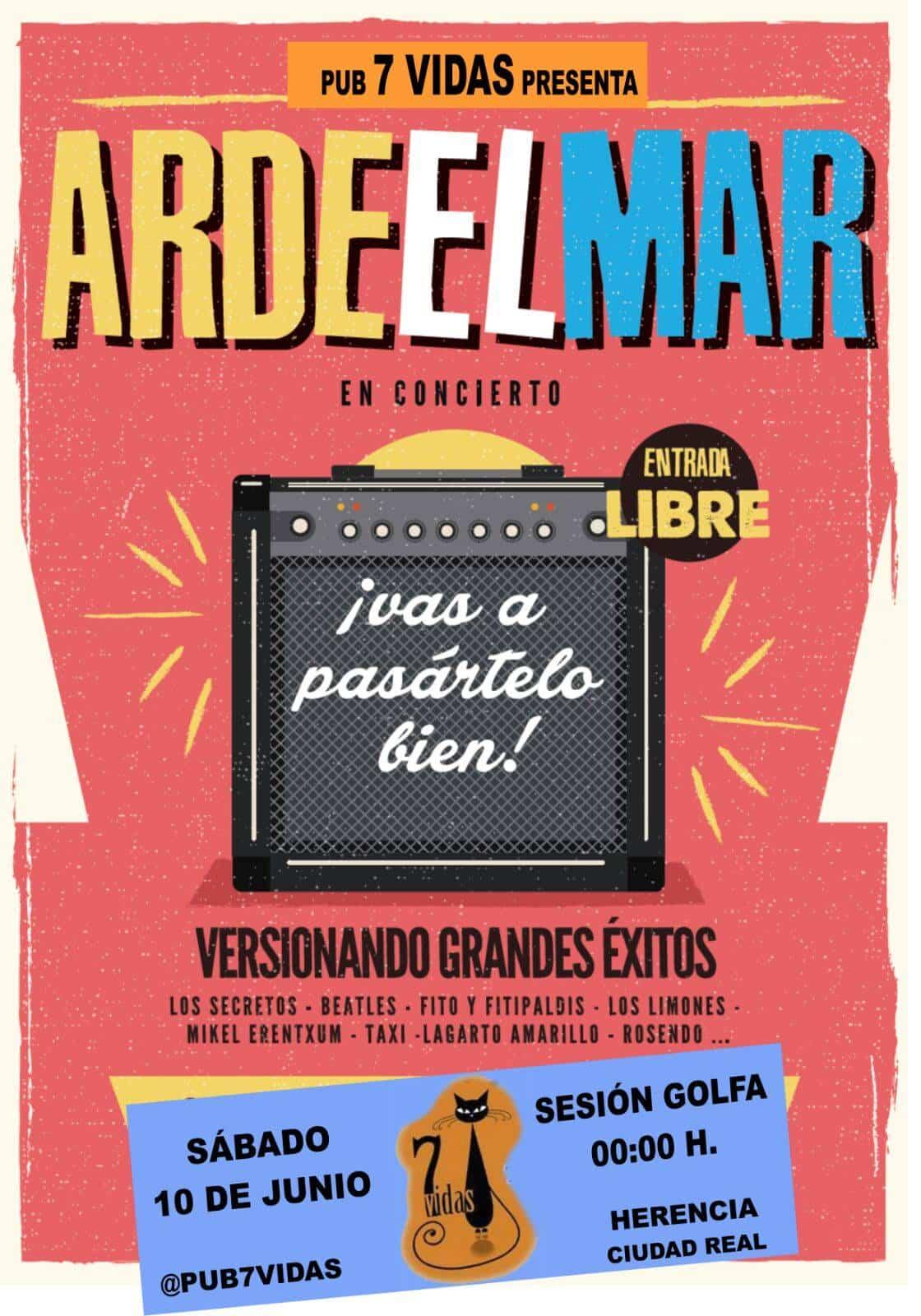 """Concierto Ardeelmar - Este sábado Concierto de """"Arde el Mar"""" en el Pub 7 Vidas"""