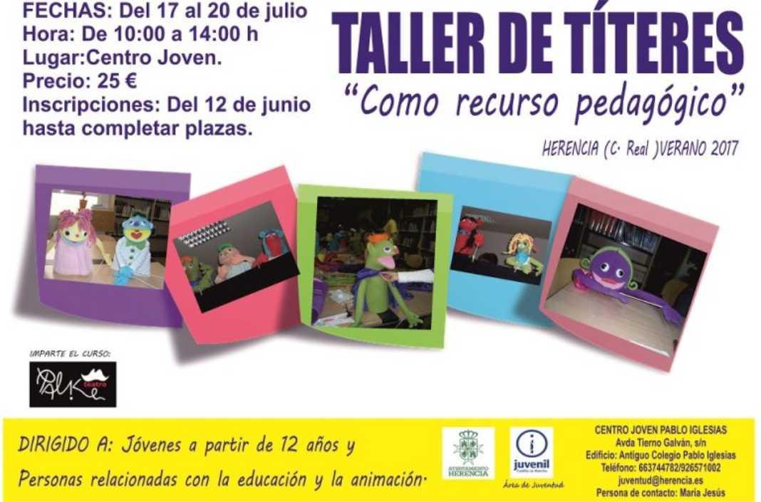 Taller de títeres 1068x705 - Taller de Títeres como recurso pedagógico, organizado por el área de Juventud