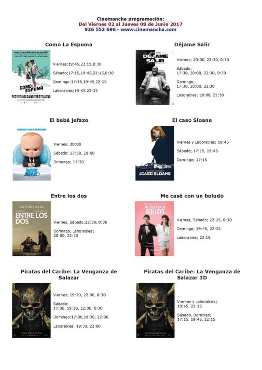 Cartelera Cinemancha del viernes 2 al jueves 8 de junio. 2