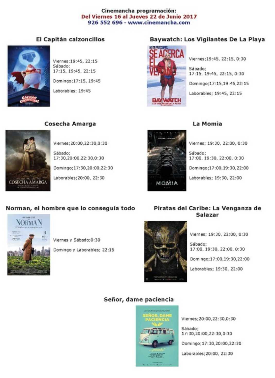 Cartelera Cinemancha del viernes 16 al jueves 22 de junio. 2