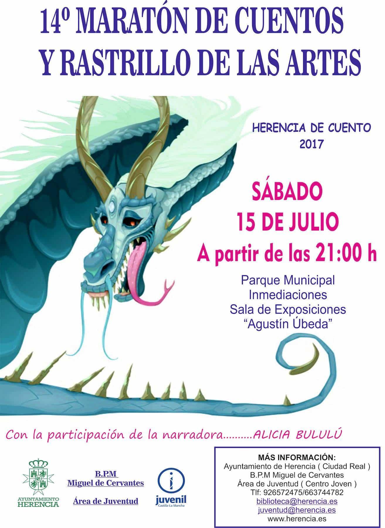 Cartel maraton cuentos 2017 herencia - El sábado no te pierdas el 14º Maratón de Cuentos y Rastrillo de las Artes en el Parque