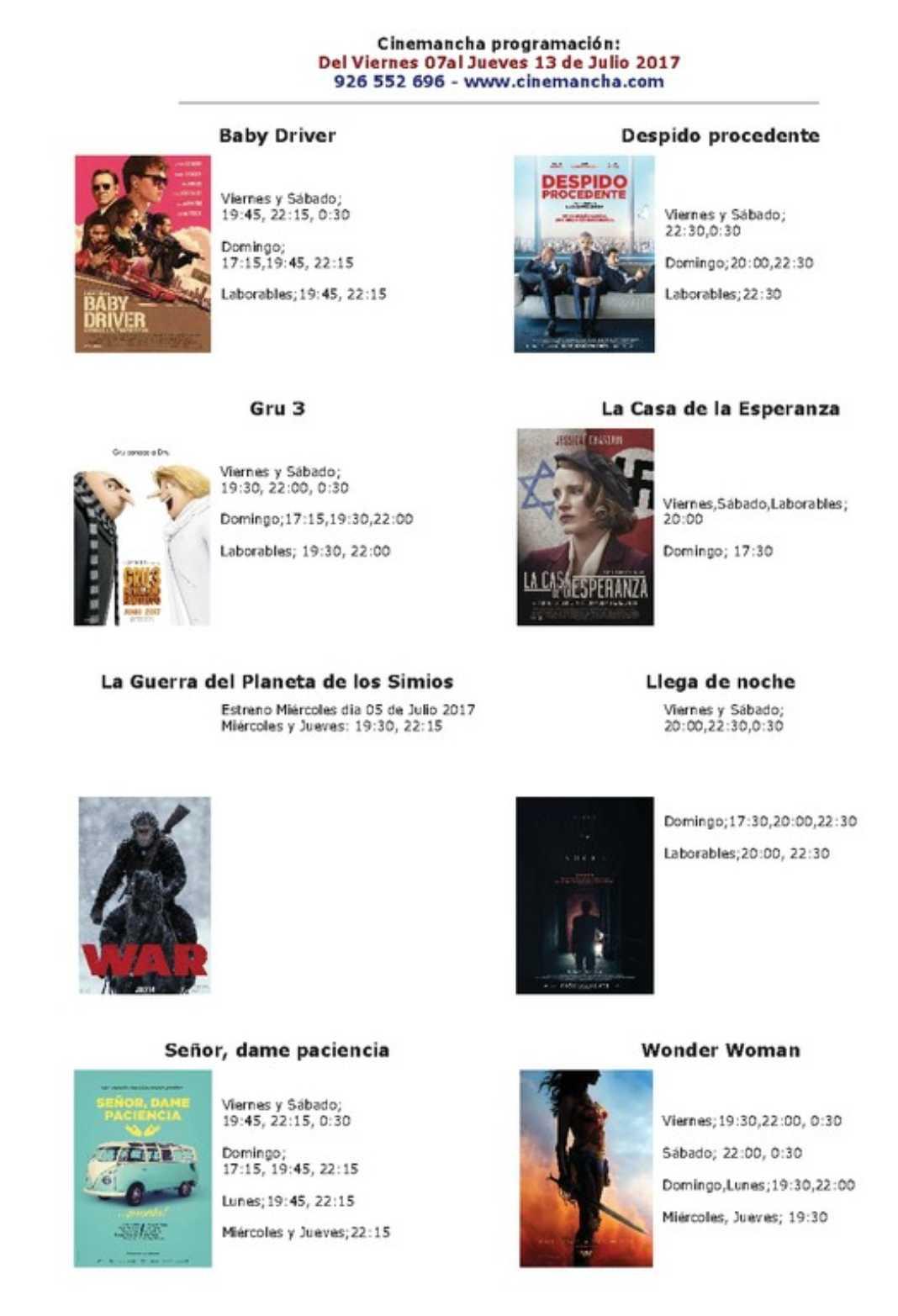 Cartelera Cinemancha del viernes 7 al jueves 13 de julio 2