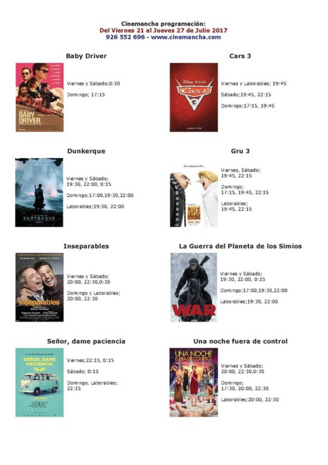 Programación Cinemancha del viernes 21 al jueves 27 de Julio 2