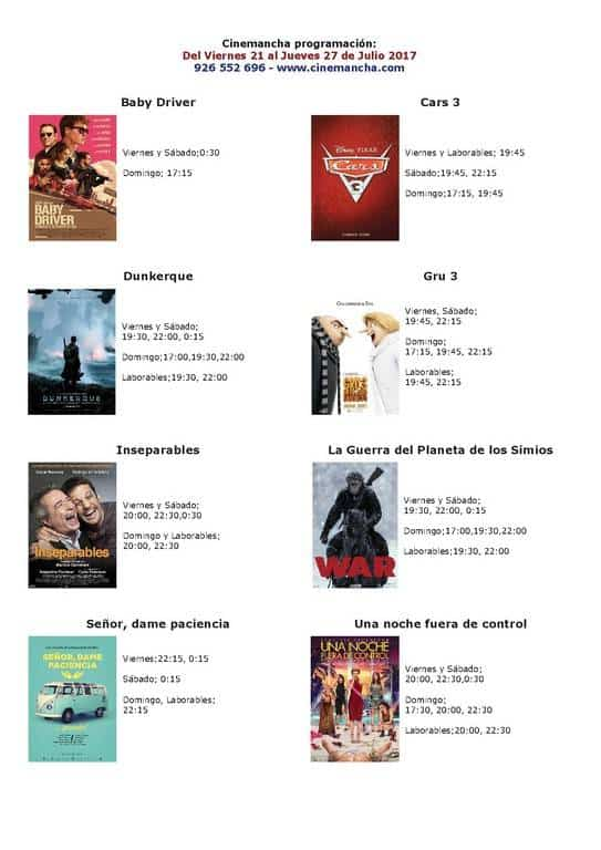 Programación Cinemancha del viernes 21 al jueves 27 de Julio 1