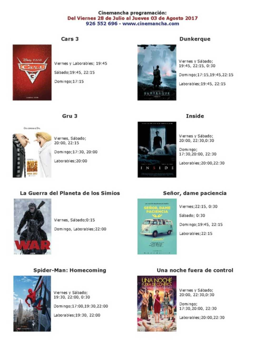 Cartelera Cinemancha del viernes 28 de julio al jueves 3 de agosto 2