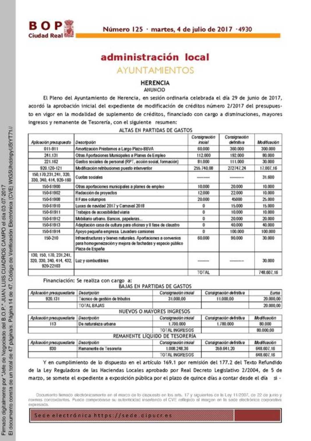 Modificación de créditos número 2/2017 del presupuesto en vigor 1