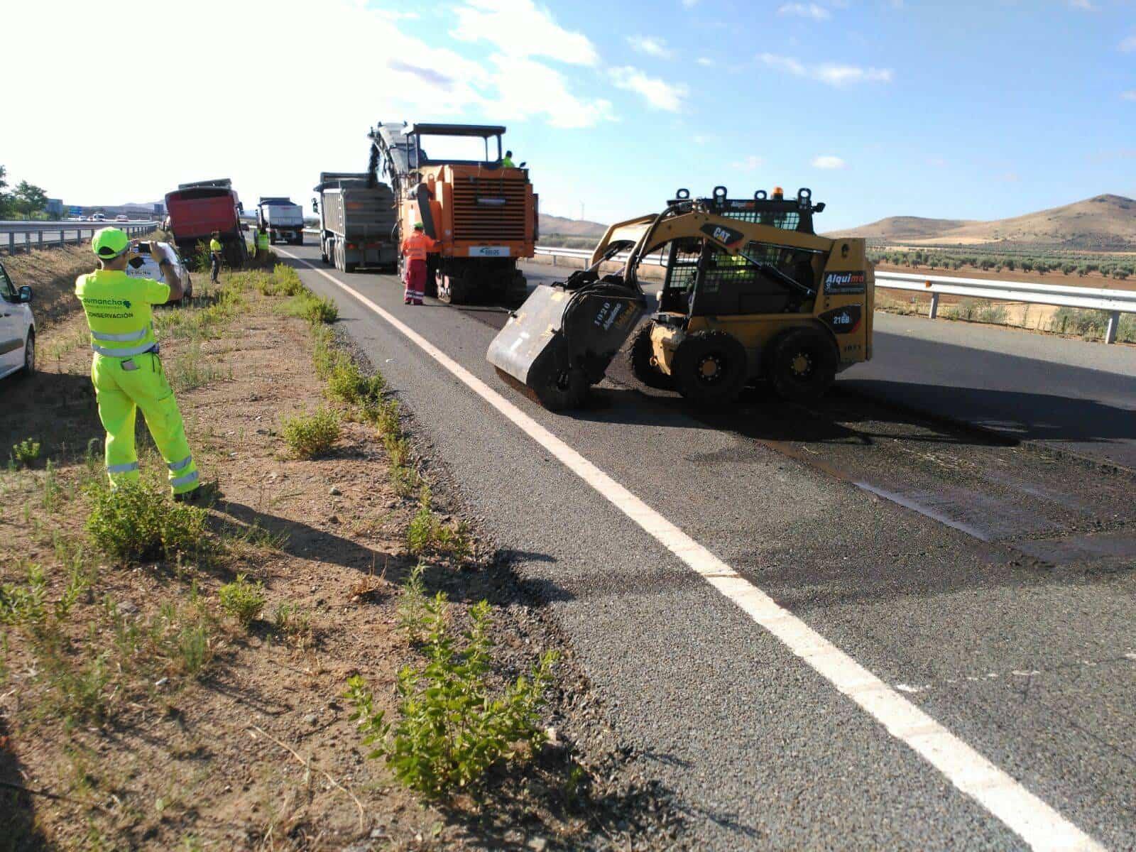 obras autovia vinedos 2 - Inicio de rehabilitación de pavimento en primer tramo de Autovía de los Viñedos