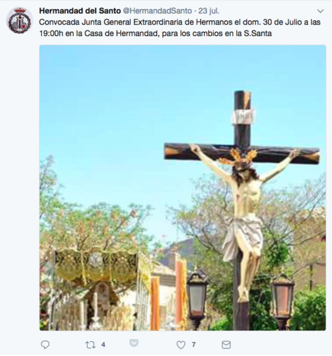 twitter de la hermandad de El Santo 1068x1148 - Las Hermandades de Pasión trabajan en la reforma de la Semana Santa de Herencia