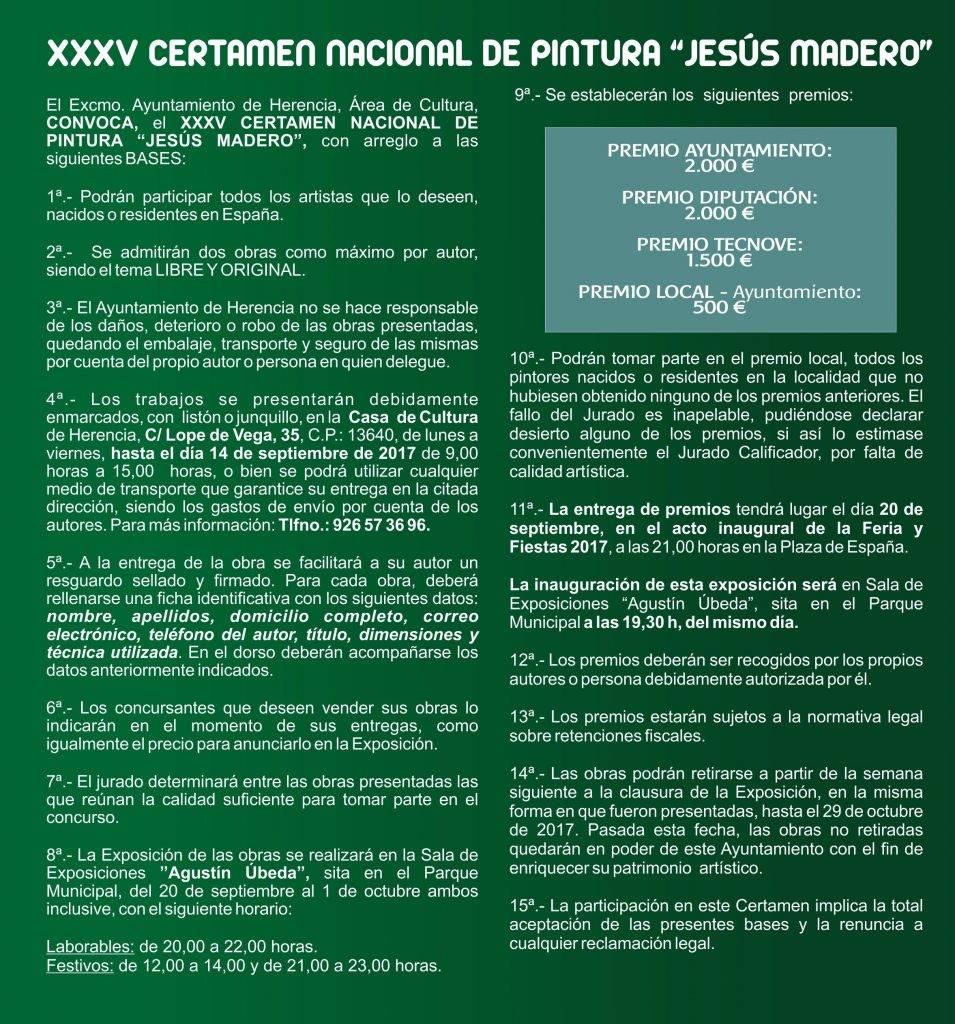 "Bases del certamen de Pintura Jes%C3%BAs Madero 1 955x1024 - Convocado el XXXV Certamen Nacional de Pintura ""Jesús Madero"""