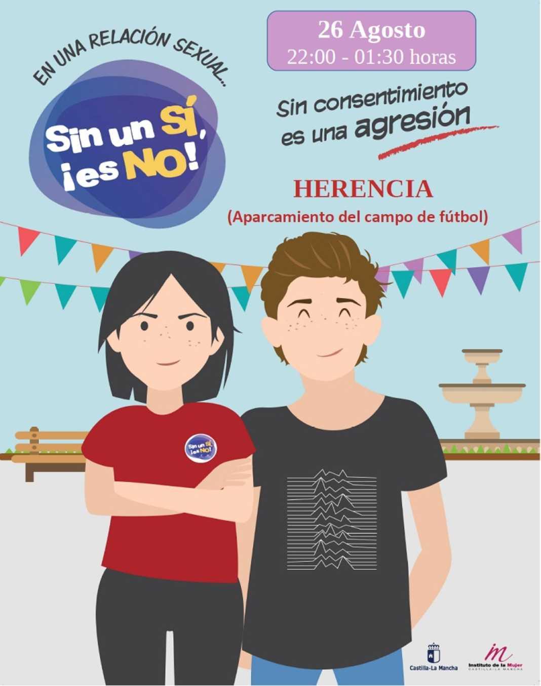 """Sin un sí ¡es no 1068x1356 - Llega a Herencia la campaña """"Sin un si, ¡es no!"""" Contra las violaciones en cita"""