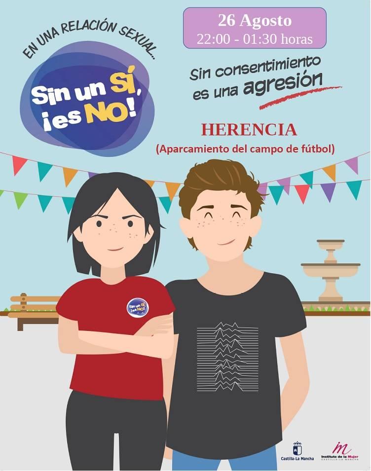 """Sin un sí ¡es no - Llega a Herencia la campaña """"Sin un si, ¡es no!"""" Contra las violaciones en cita"""