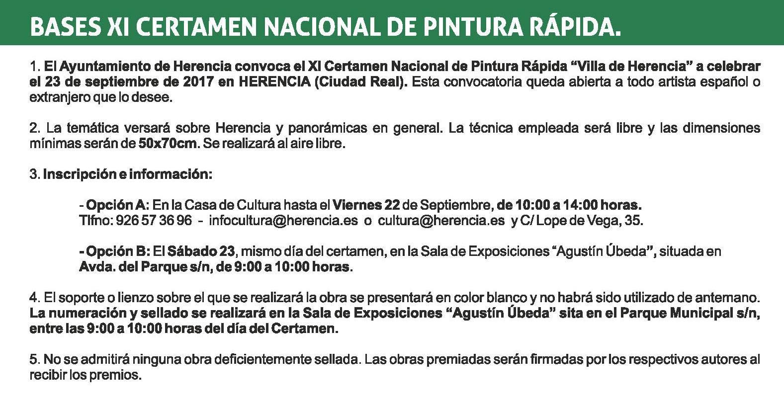 "bases XI certamen pintura rapida herencia 1 - Convocado el XI Certamen Nacional de Pintura Rápida ""Villa de Herencia"""