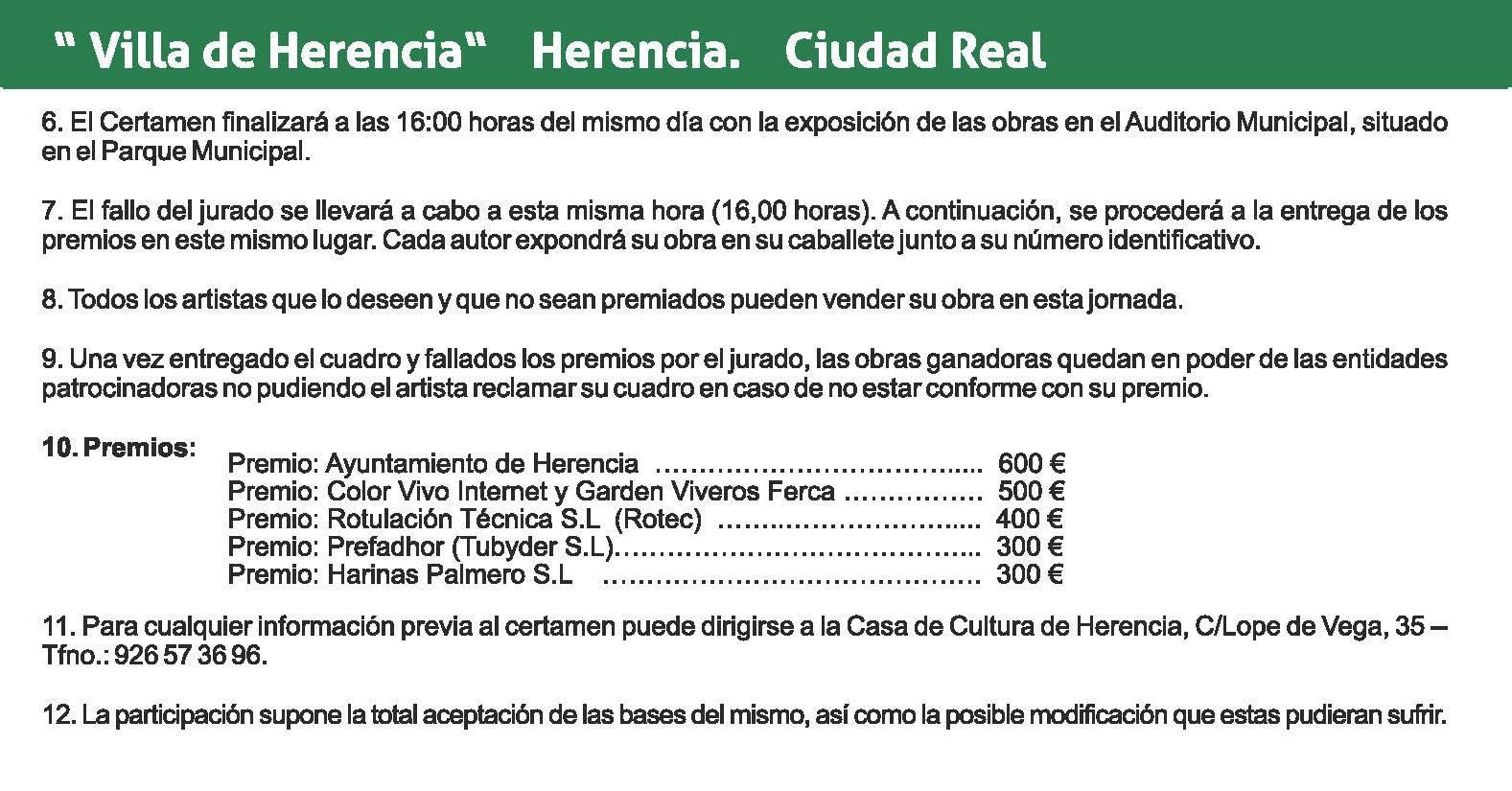 "bases XI certamen pintura rapida herencia 2 - Convocado el XI Certamen Nacional de Pintura Rápida ""Villa de Herencia"""