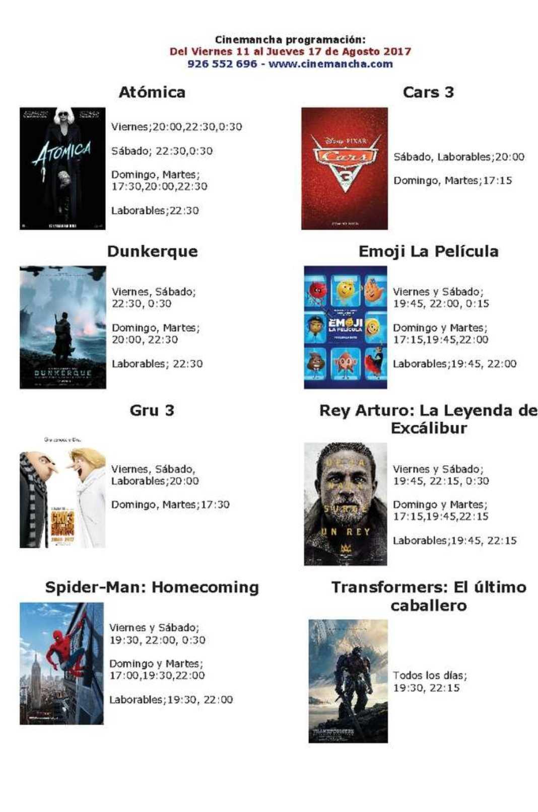 Cartelera Cinemancha del viernes 11 al jueves 17 de agosto 2