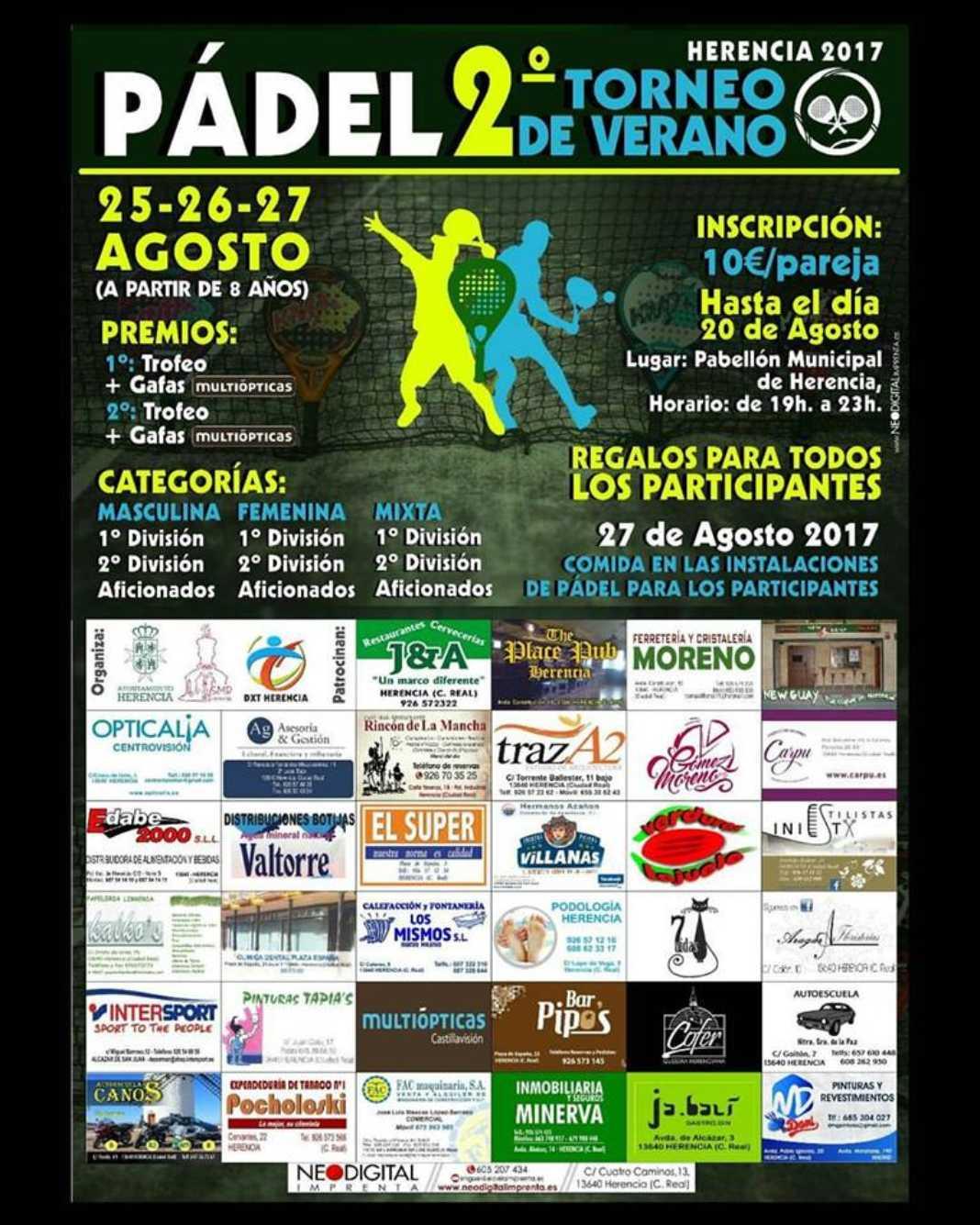 segundo torneo de Padel de Verano de Herencia 1068x1335 - Segundo Torneo de Pádel de Verano 2017