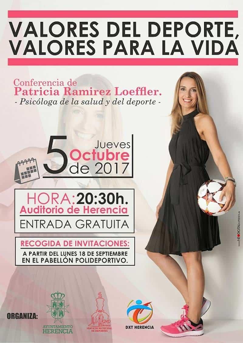 Cartel Conferencia Patricia - La psicóloga deportiva Patricia Ramirez visitará Herencia el próximo otoño