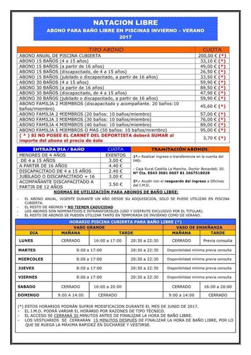 Precios y horarios de la piscina cubierta de Alcázar de San Juan 3