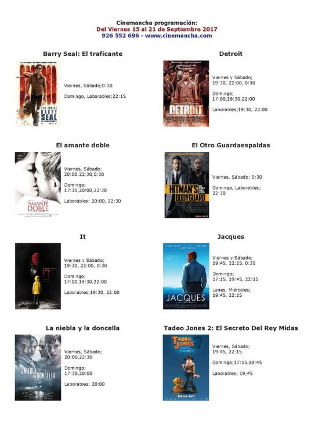 Películas en Cinemancha del 15 al 21 de septiembre 2