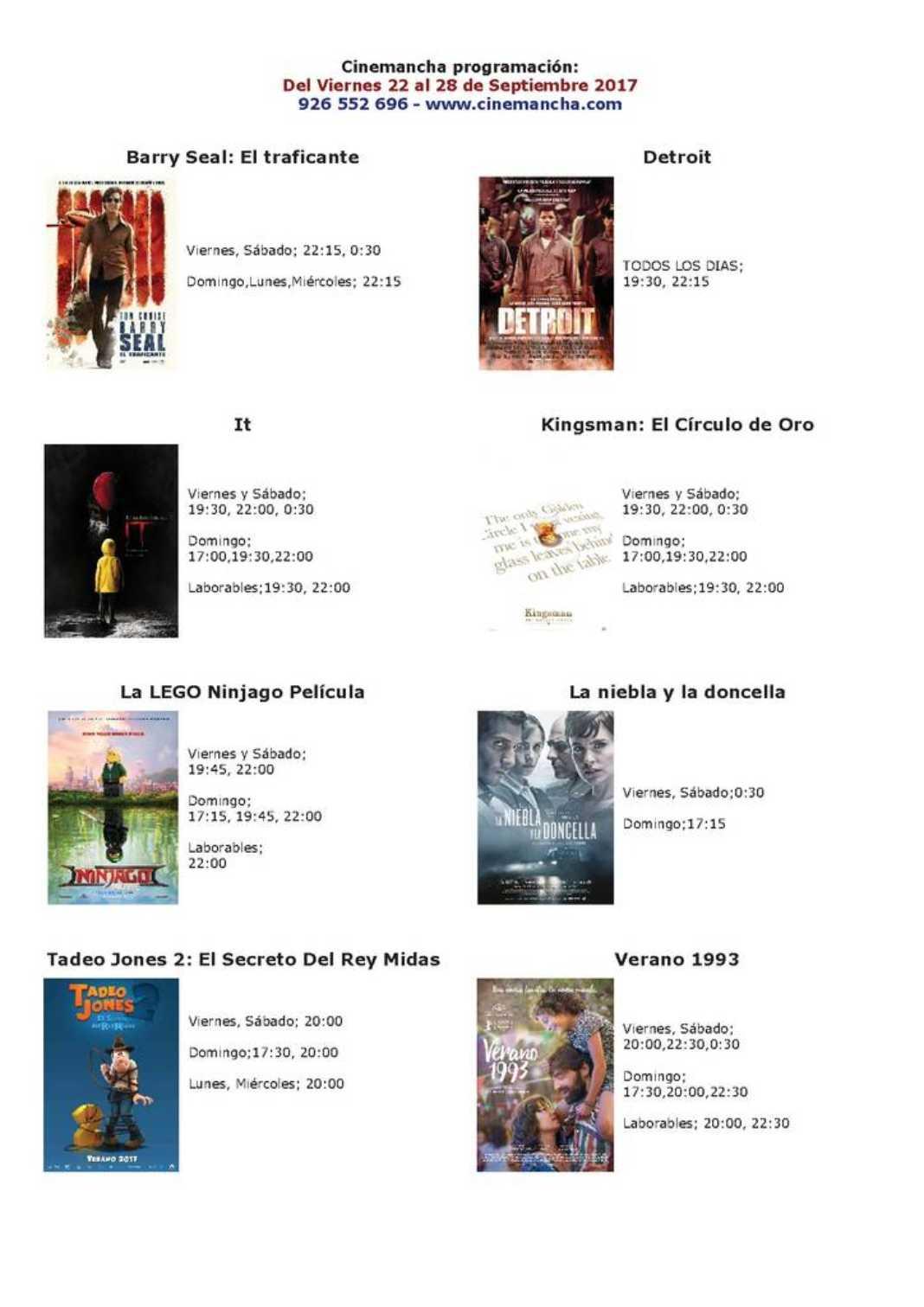 Nueva cartelera en Cinemancha del 22 al 28 de septiembre 2