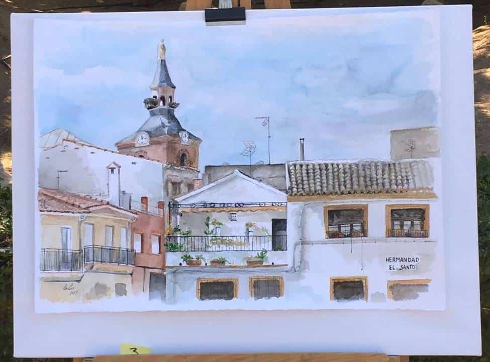 """cuadros partipantes XI pintura rapida herencia 2 - Orencio Murillo ganador del XI Certamen de Pintura Rápida """"Villa de Herencia"""""""