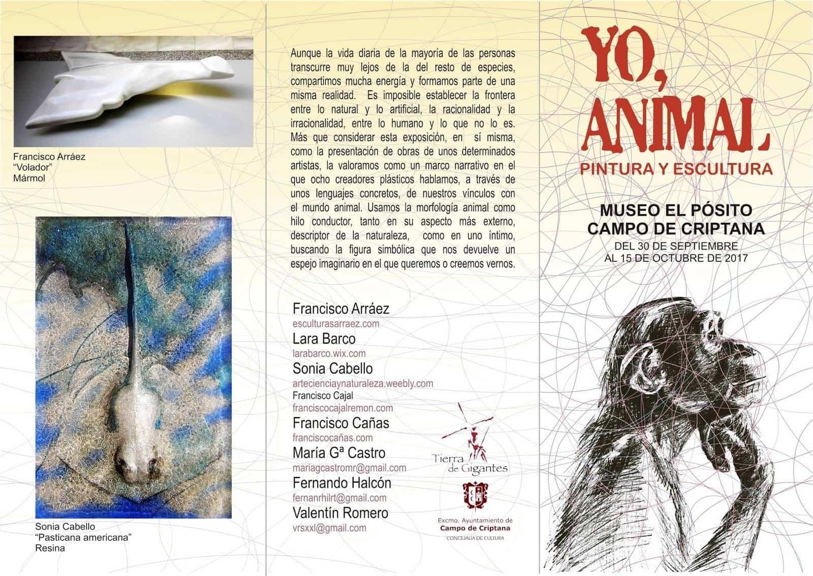 folleto exposicion yo animal - Francisco Arráez participa en una nueva edición del grupo YO, ANIMAL