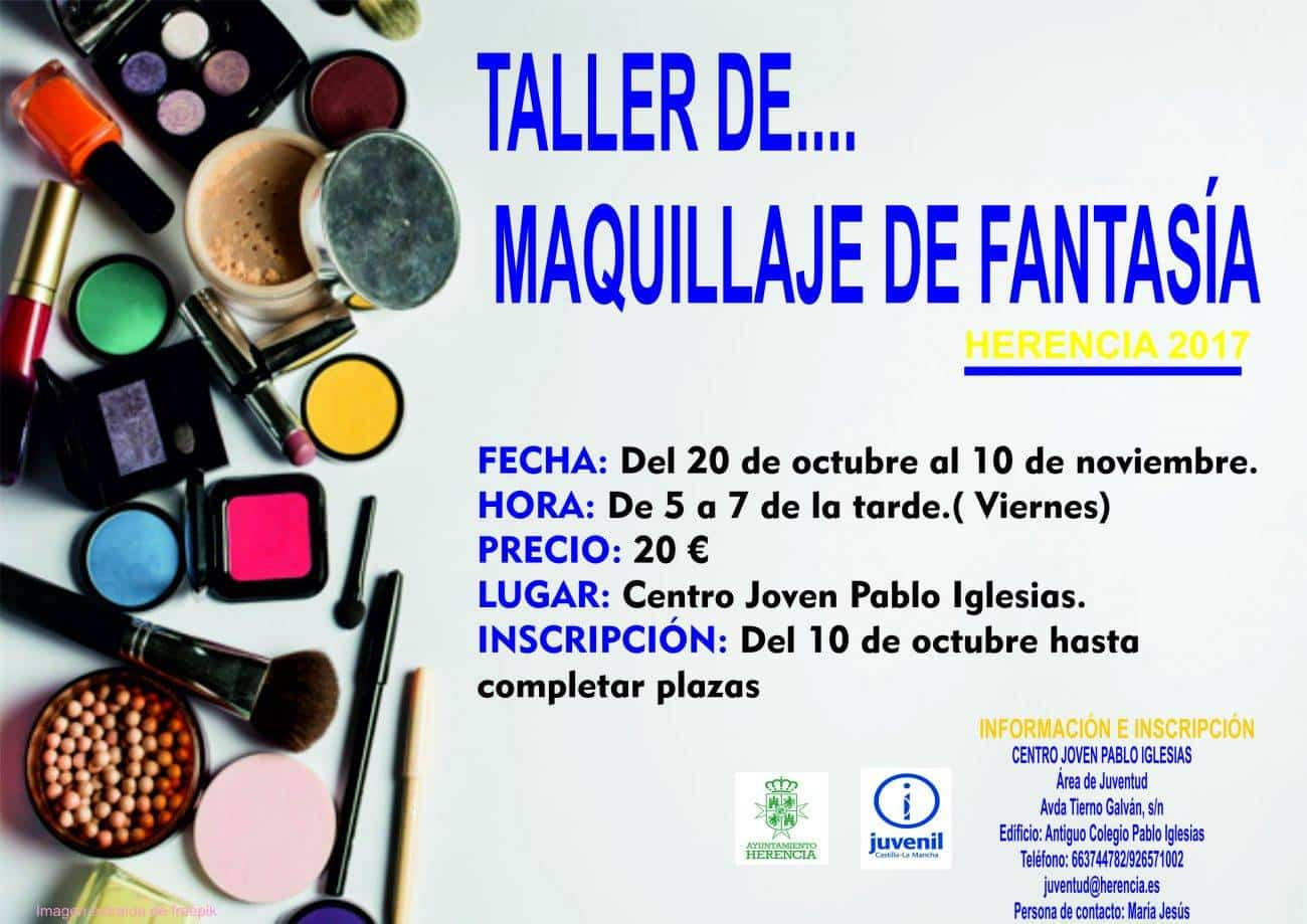 Cartel taller maquillaje 1300x919 1 - Juventud organiza un taller de maquillaje de fantasía
