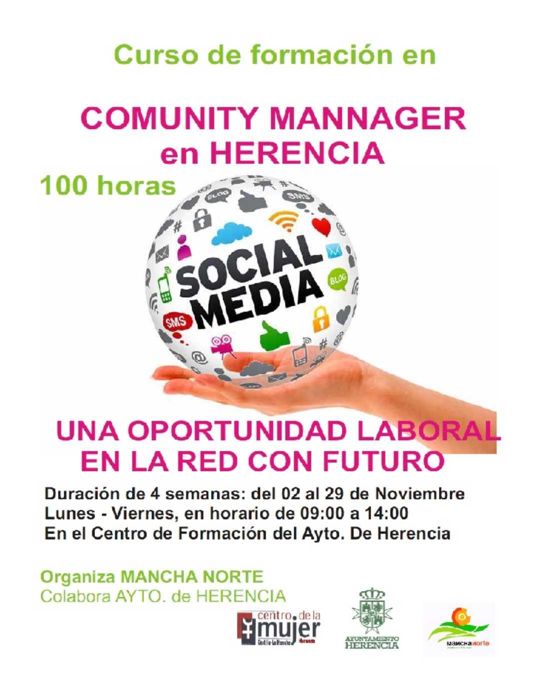 Curso Comunity Mannager 1068x1373 - Mancha Norte organiza un curso de Community Manager en Herencia