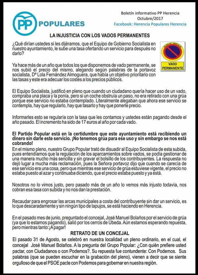 boletin popular herencia 1 - Partido Popular de Herencia publica su boletín informativo de octubre 2017