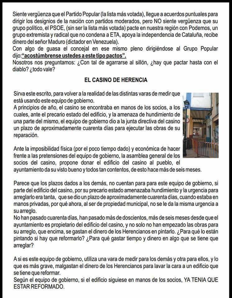 boletin popular herencia 2 - Partido Popular de Herencia publica su boletín informativo de octubre 2017