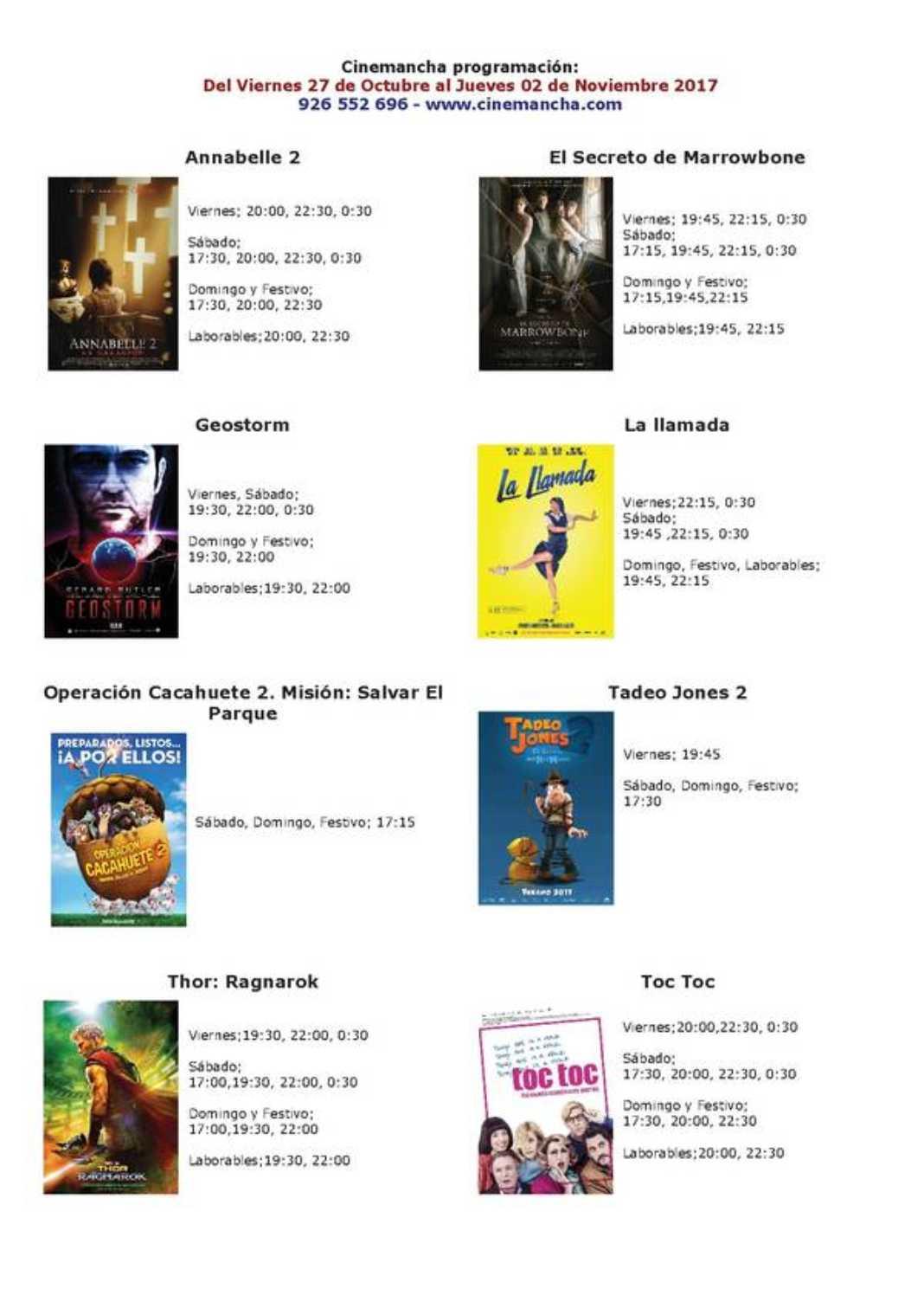 Programación Cinemancha del viernes 27 al jueves 02 2