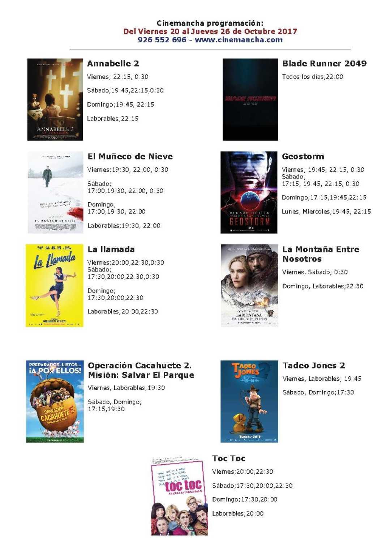 Cartelera Cinemancha del viernes 20 al jueves 26 de octubre 2