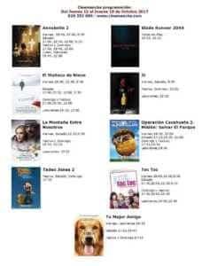 Cartelera Cinemancha del jueves 12 al jueves 19 de octubre 1