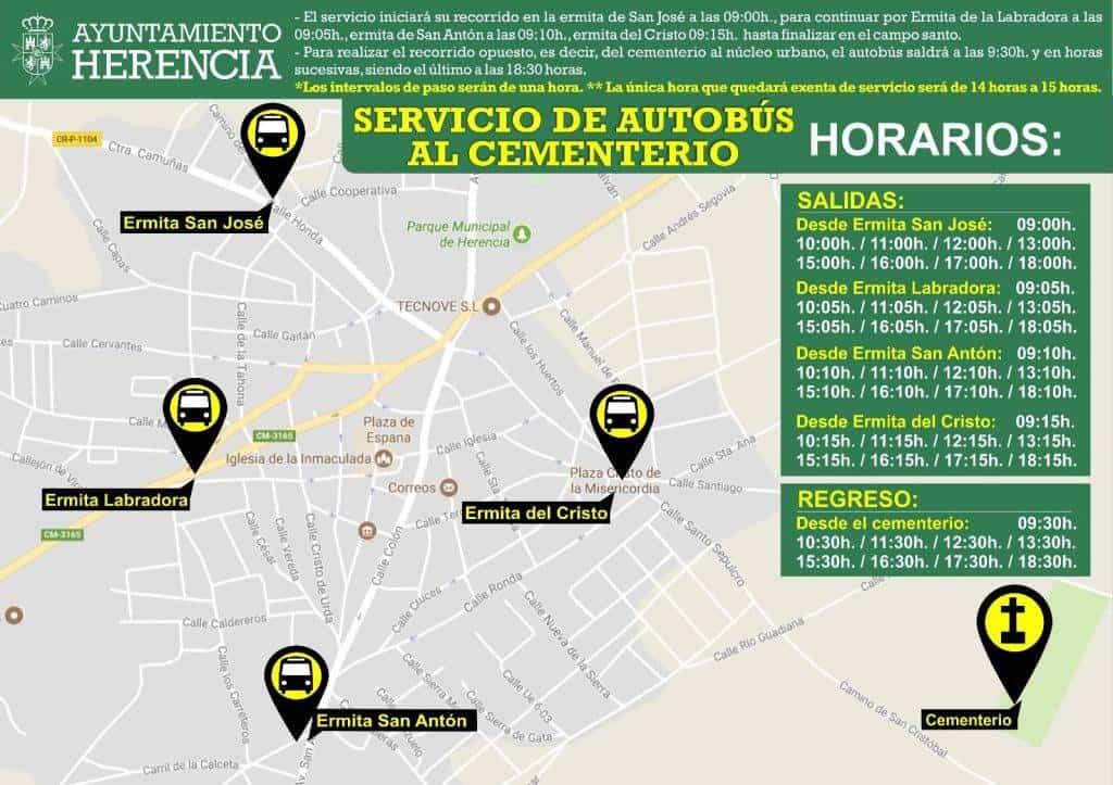 ruta de autobuses al cementerio de herencia - Autobús gratuito para ir al cementerio la fiesta de todos los Santos