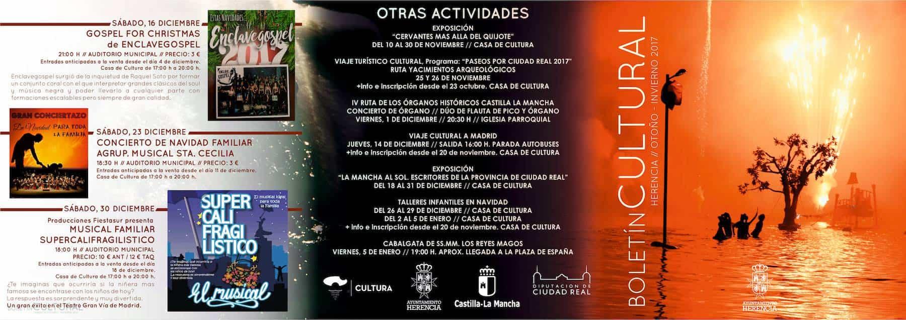 triptico otono invierno 2017 herencia 1 - El Auditorio de Herencia estrena nueva temporada con 12 espectáculos de estilos diferentes