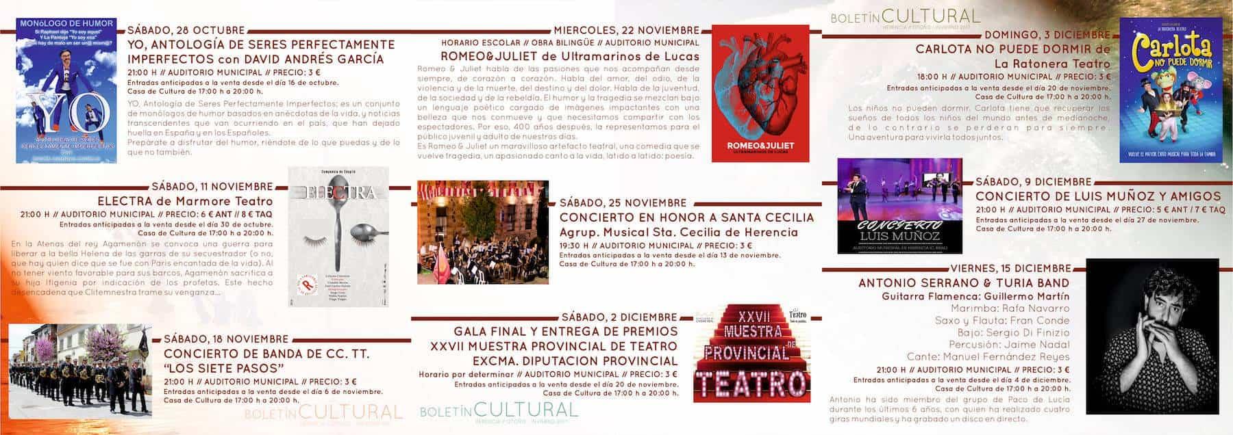 triptico otono invierno 2017 herencia 2 - El Auditorio de Herencia estrena nueva temporada con 12 espectáculos de estilos diferentes