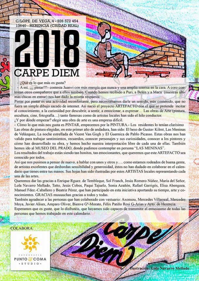 Calendario Carpe Diem 2018 - El centro Carpe Diem presenta su calendario 2018