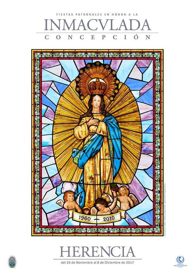 Cartel fiestas patronales inmaculada concepcion de Herencia 2017 - Fiesta de la Inmaculada Concepción en Herencia