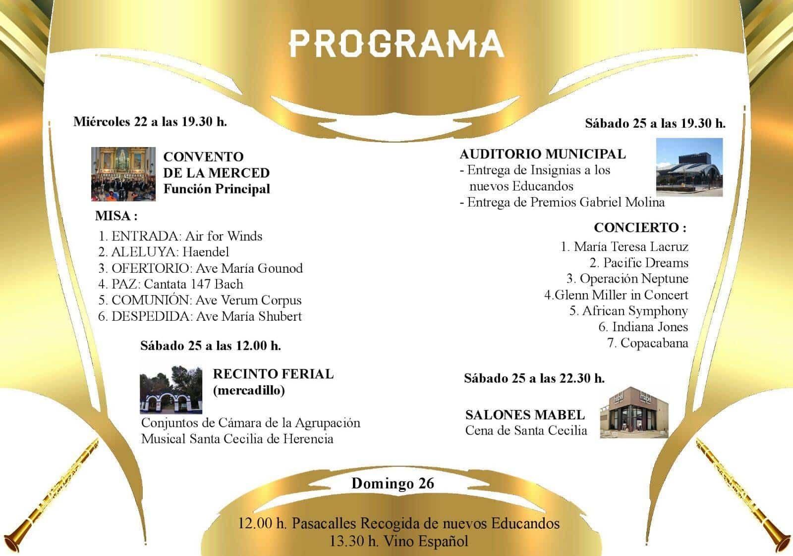 programa de actos en honor a santa cecilia - Actos de la Banda de Música en homenaje a Santa Cecilia