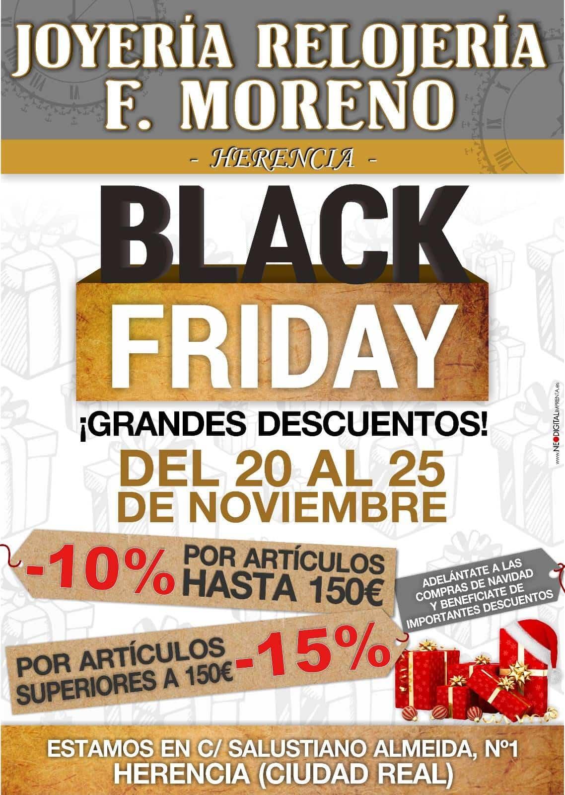 Joyería – Relojería F. Moreno celebra el Black Friday en Herencia