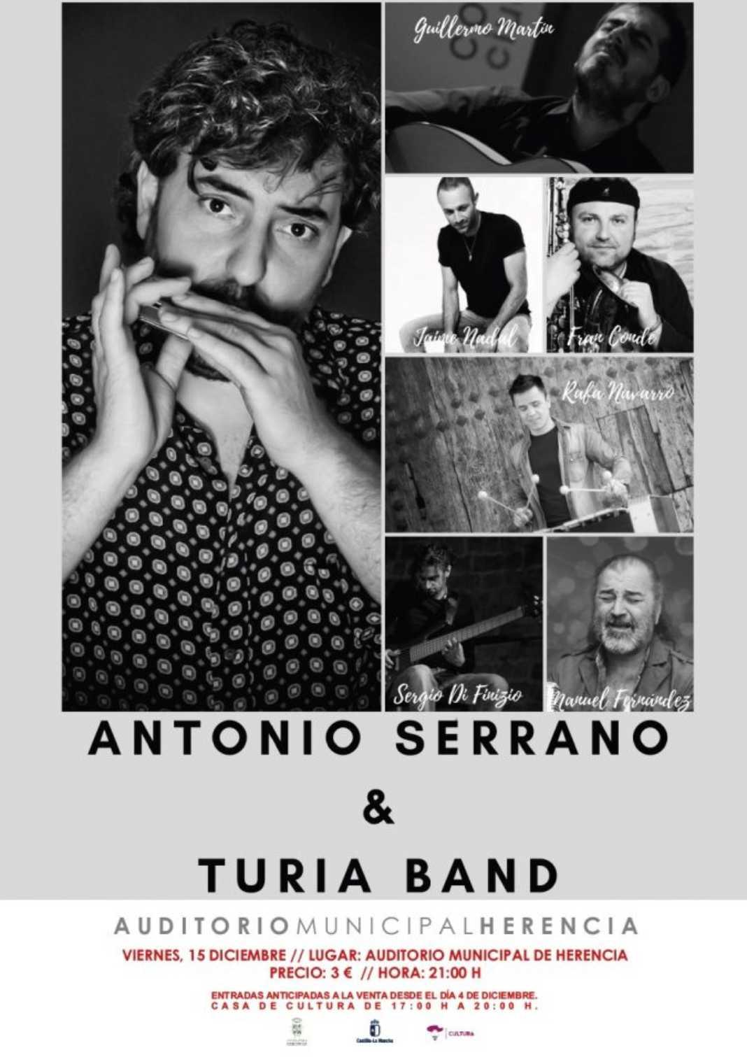 CARTEL ANTONIO SERRANO 15 DIC e1512995730542 1068x1511 - Antonio Serrano & Turia Band en el auditorio de Herencia