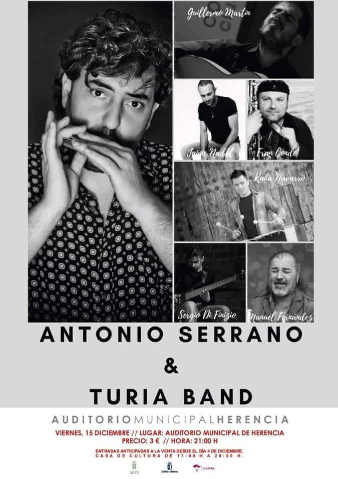 CARTEL ANTONIO SERRANO 15 DIC e1512995730542 - Antonio Serrano & Turia Band en el auditorio de Herencia