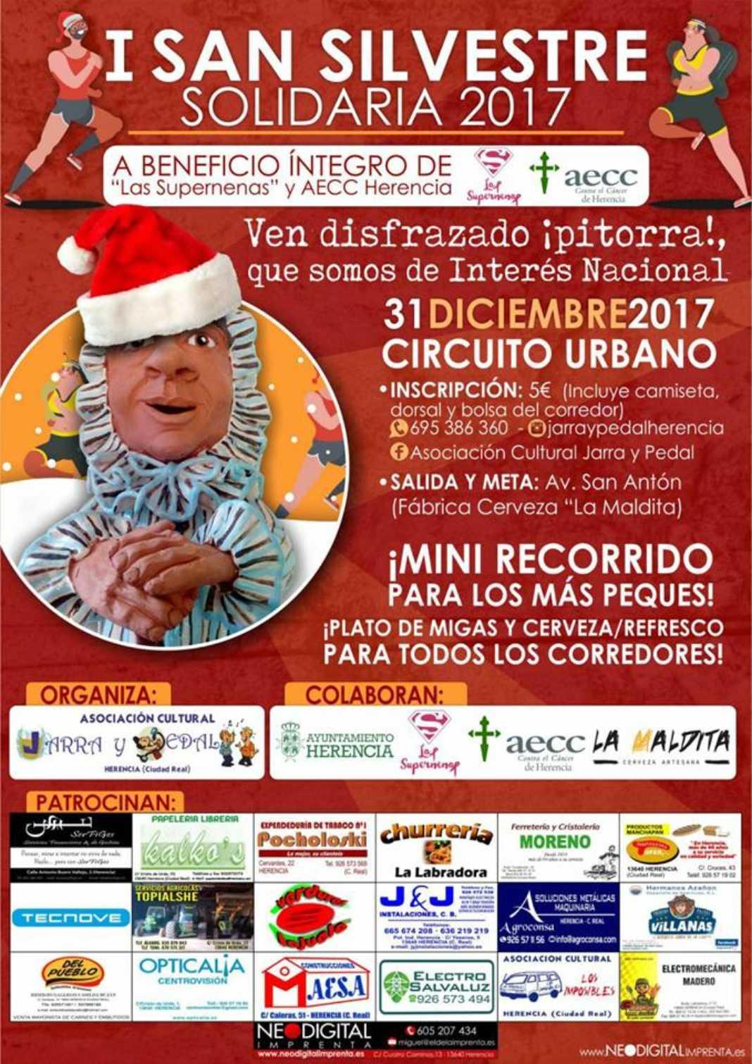 I San Silvestre Solidaria 2017 Herencia 1068x1510 - Jarra y Pedal organiza su I San Silvestre solidaria en Herencia