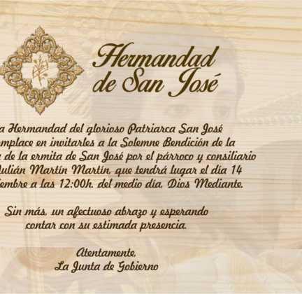 Invitación a la bendición de la nueva campana de san Jose 432x420 - Nueva campana para la ermita de San José