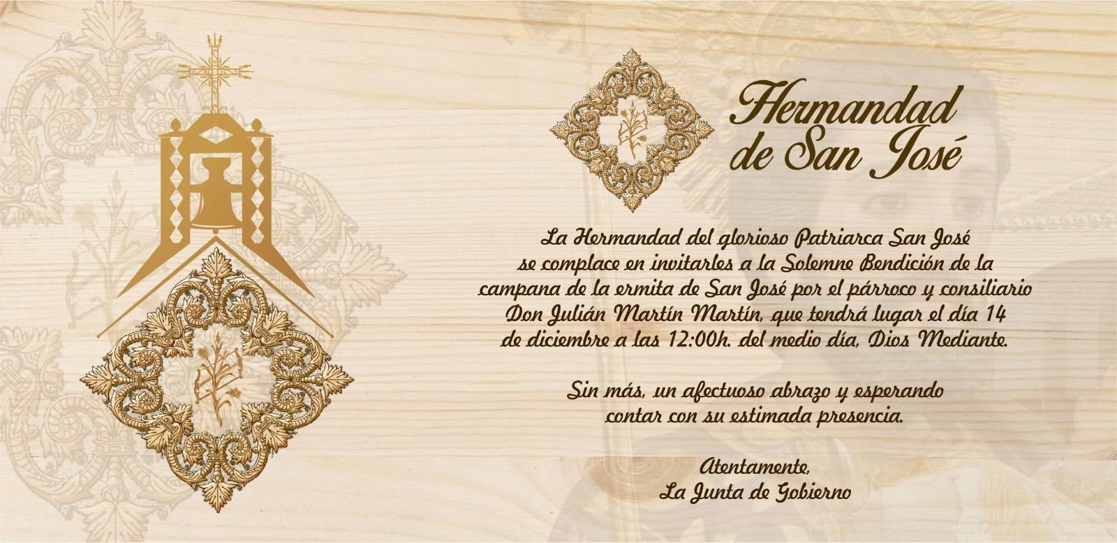 Invitación a la bendición de la nueva campana de san Jose - Nueva campana para la ermita de San José