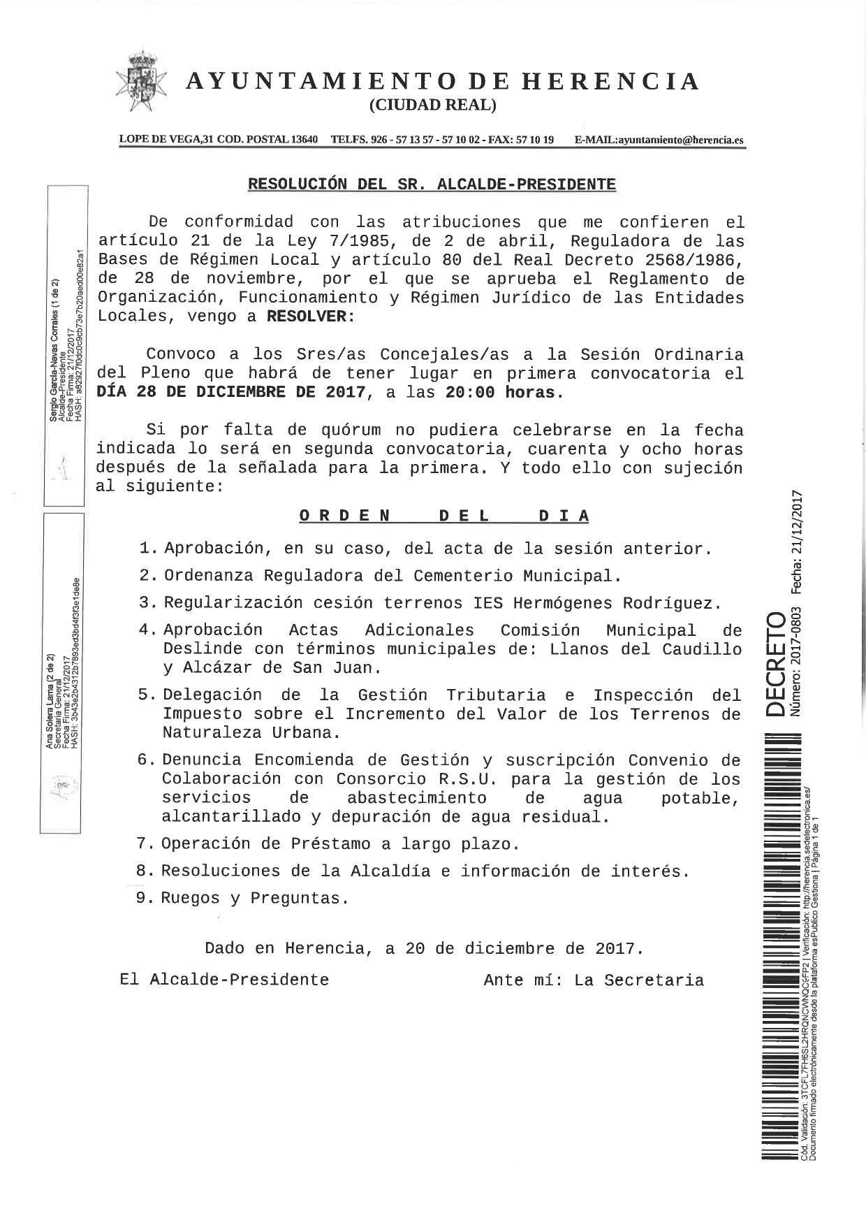 Orden del dia Pleno 28 de diciembre de 2017 herencia - Herencia convoca pleno ordinario para este jueves