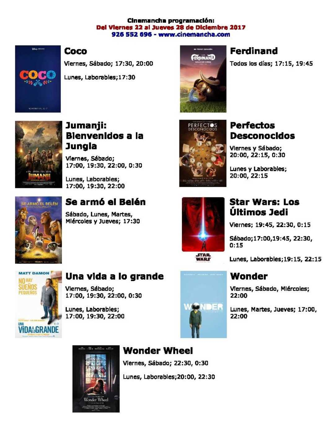 Cartelera Cinemancha del 22 al 28 de diciembre 2