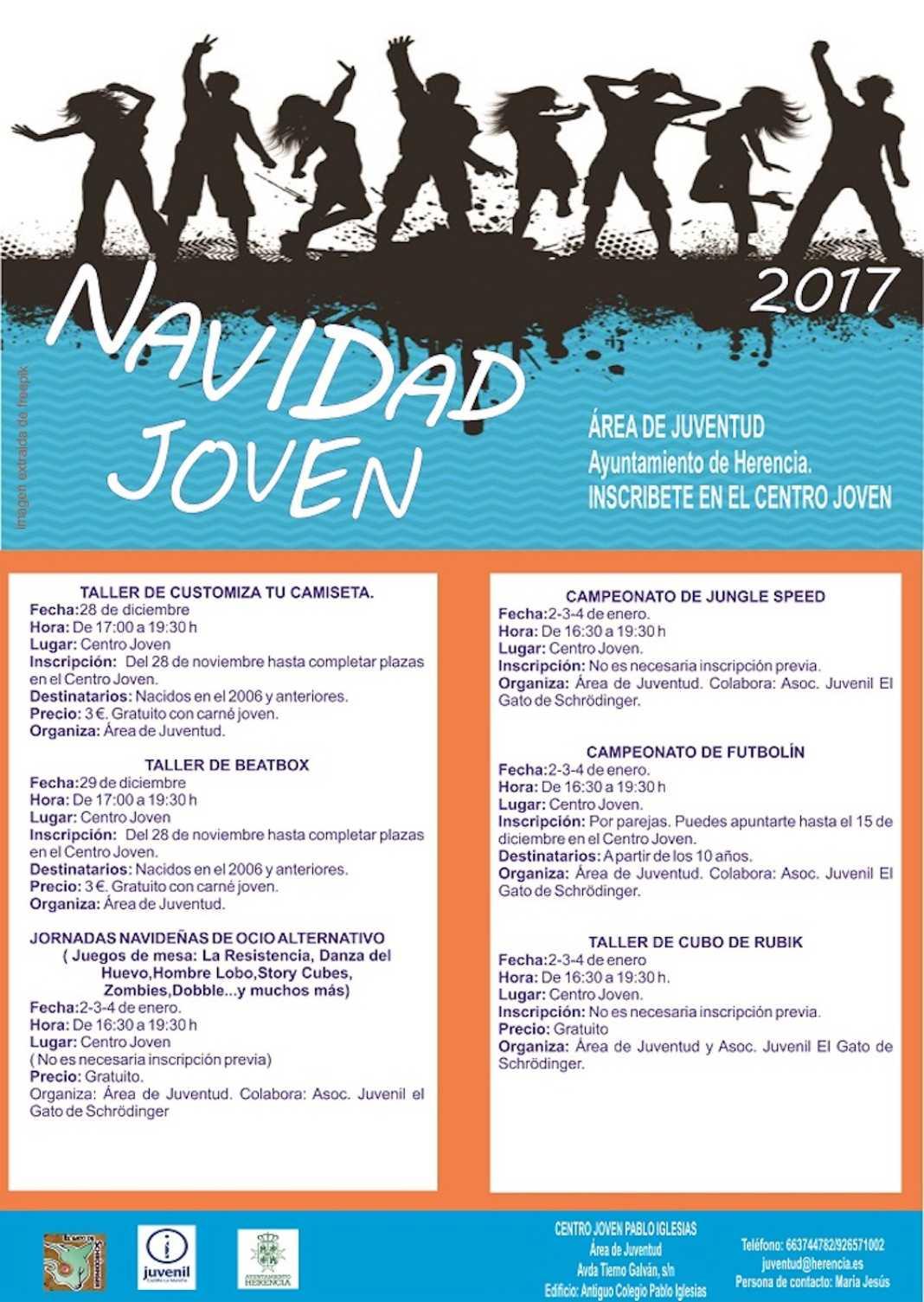 programa de navidad 2017 1068x1505 - El Centro Joven amplía su actividad durante los días de Navidad