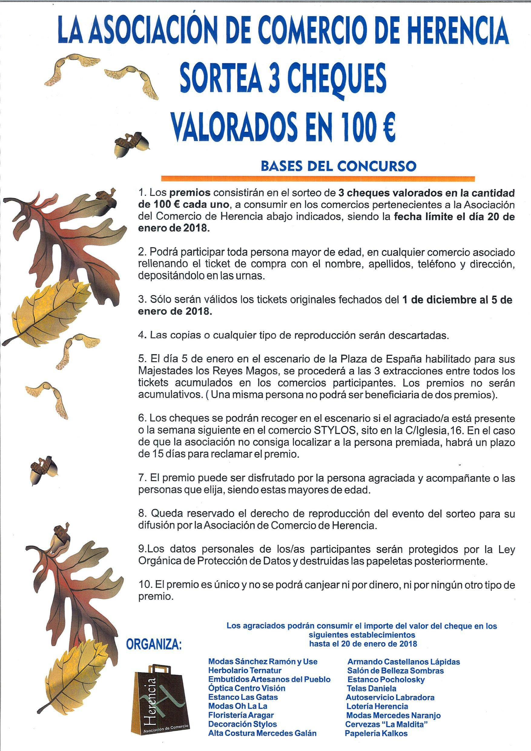sorteo cheques asociacion de comercio de Herencia 2017 - La Asociación de Comercio de Herencia sortea cheques valorados en 100 euros