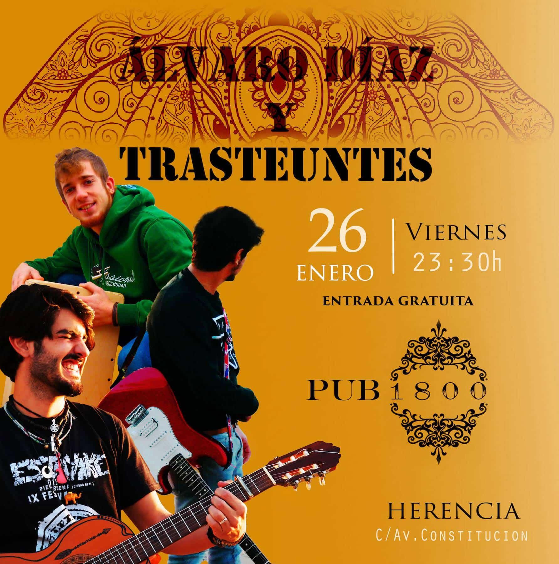 Cartel Concierto Alvaro Diaz y Trasteuntes - Concierto de Álvaro Díaz y Trasteuntes este viernes 26 de enero